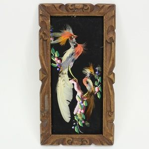 Vintage Colorful Bird Feather Picture Wall Decor